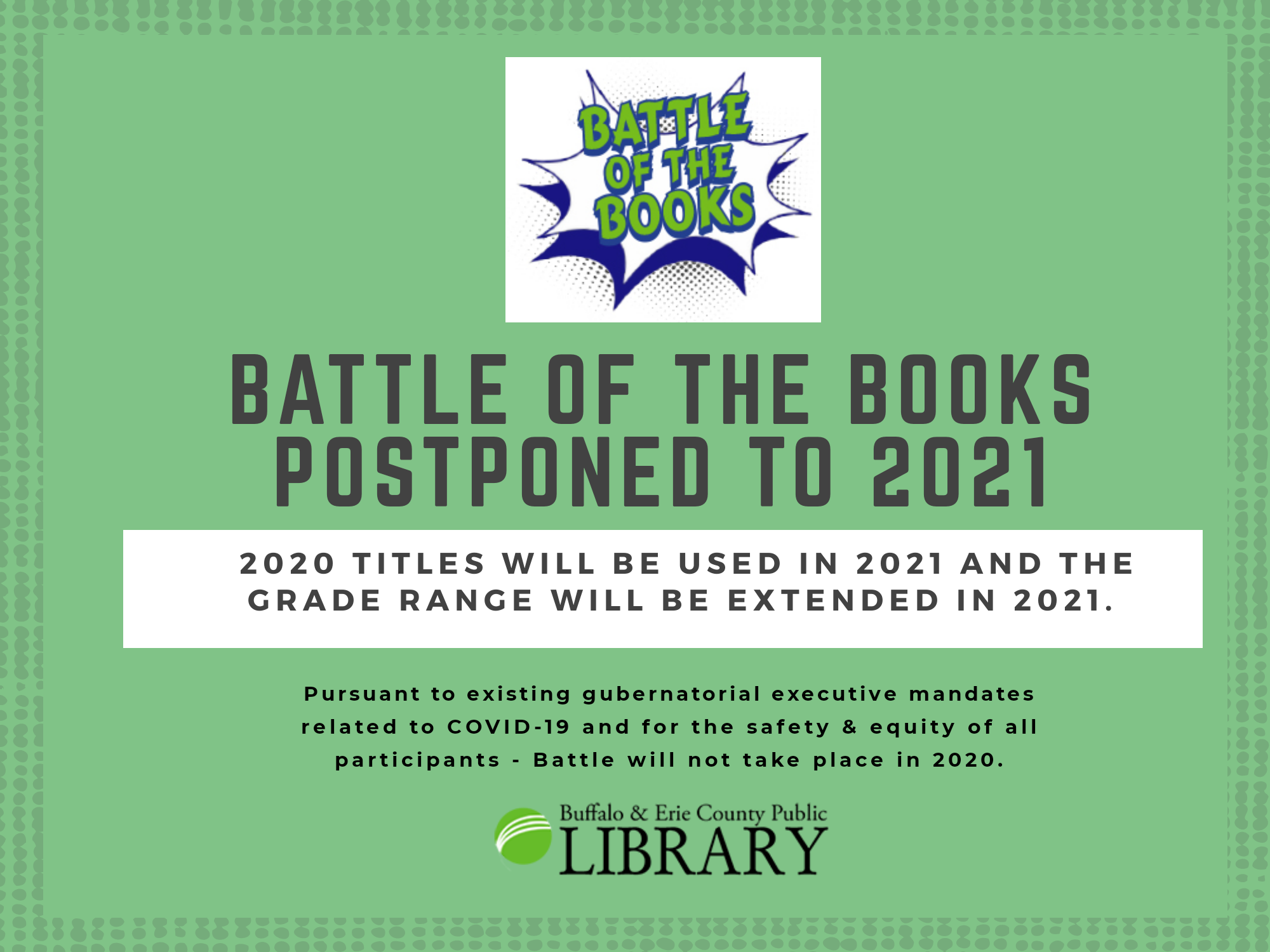 Celebrate the 22nd Annual Battle of the Books in 2021