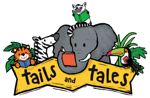 Tails & Tales Summer Reading Logo of animals reading books