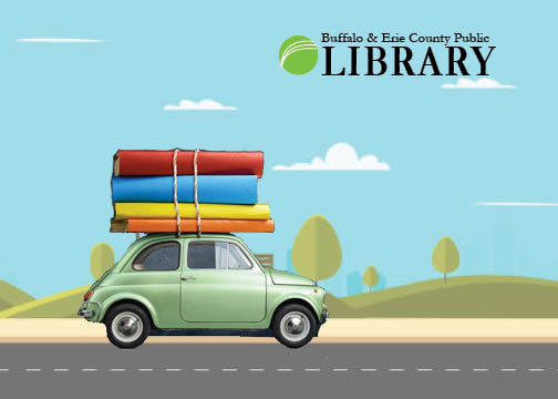 Buffalo and Erie County Libraries - picture of car with library books strapped to the roof