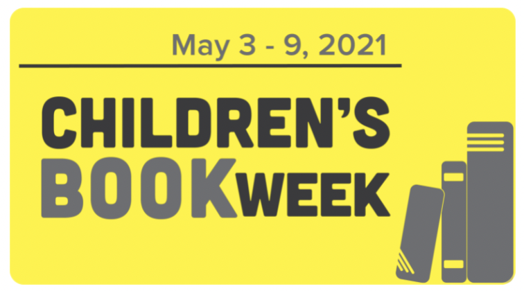 Children's book week logo Yellow background with a stack of dark gray book icons