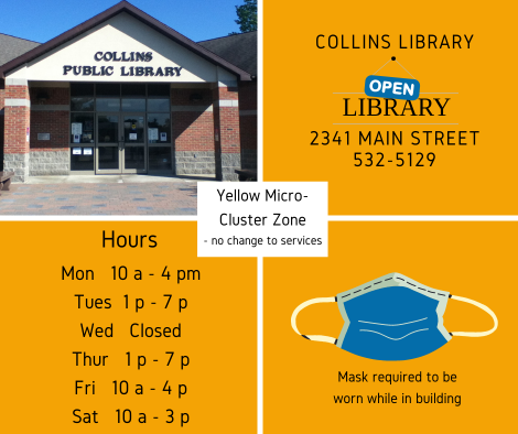Yellow designation Collins Library - no change to services, mask required
