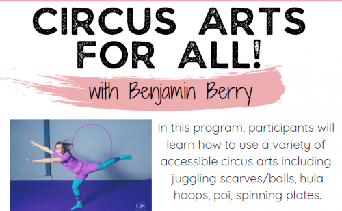 Flyer for Circus Arts for All Program