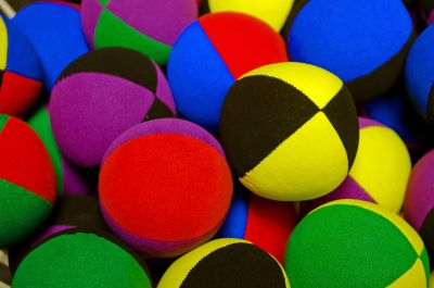 photo of colorful juggling balls