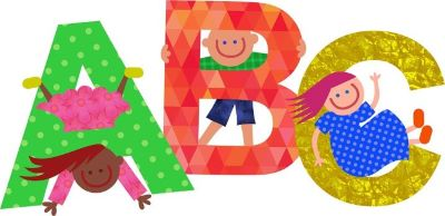 cartoon image of children with alphabet letters