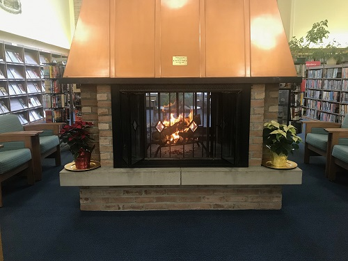 Fireplace at Lancaster Library